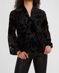 Express Floral Velvet Tie Neck Top Pitch Black