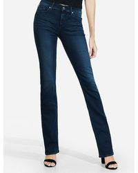 Express Mid Rise Dark Wash Barely Boot Jeans - Blue