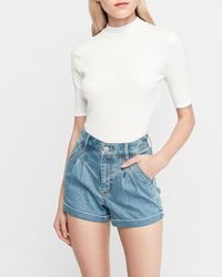 Express High Waisted Pleated Double Roll Jean Shorts Blue 8
