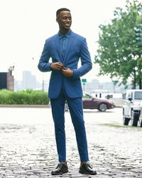 Express Extra Slim Solid Blue Luxe Comfort Soft Suit Jacket