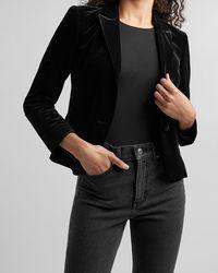 Express Velvet Peak Lapel One Button Cropped Business Blazer Black 00