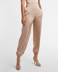 Express - High Waisted Satin Pull-on Joggers Neutral S - Lyst