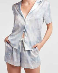 Express High Waisted Drawstring Pyjama Shorts Blue Print S