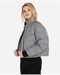 Express Plaid Puffer Coat Grey