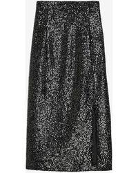 Express High Waisted Sequin Pencil Skirt Black Xxs