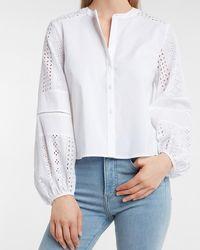 Express Eyelet Lace Balloon Sleeve Shirt White