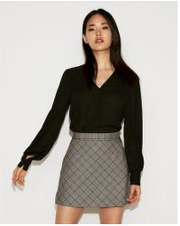 Express - High Waisted Plaid Clean A-line Mini Skirt - Lyst