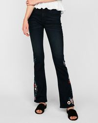 Express Mid Rise Supersoft Floral Embroidered Barely Boot Jeans, - Blue