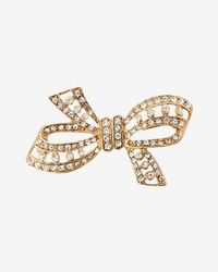 Express Stone Bow Pin - Metallic
