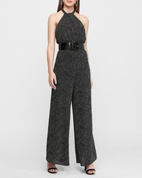 Express Dotted Halter Neck Wide Leg Palazzo Jumpsuit Print Xs - Black