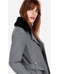 Express Short Faux Fur Collar Belted Wool-blend Coat Grey Xl