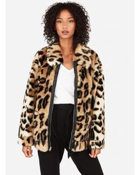Express Oversized Faux Cheetah Fur Coat Brown Xs/s
