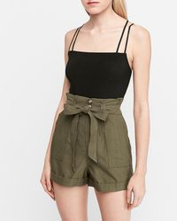 Express - Super High Waisted Paperbag Cargo Shorts Green S - Lyst