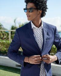Express Slim Striped Navy Seersucker Suit Jacket - Blue