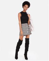 Express - High Waisted Metallic Tweed A-line Mini Skirt - Lyst