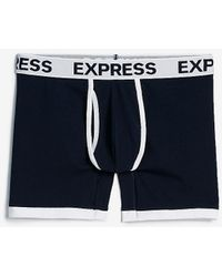 Express White Binded Boxer Briefs - Blue