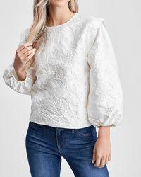 Express En Saison Jacquard Long Sleeve Blouse White M