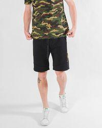 Express Brooklyn Cloth Side Stripe Zip Pocket Fleece Short Camo S - Black