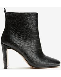 Express Croc-embossed Square Toe Booties Black