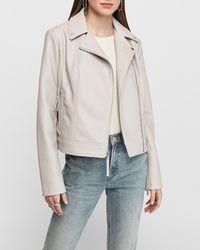 Express Faux Leather Asymmetrical Zip Moto Jacket Pink Xxs