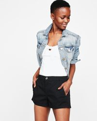Express Mid Rise Relaxed Twill Trouser Shorts - Multicolour
