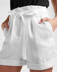 Express Super High Waisted Belted Linen-blend Cuffed Shorts White