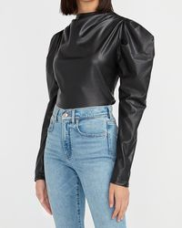 Express Faux Leather Puff Sleeve Mock Neck Top Pitch Black