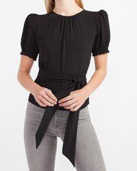 Express Puff Sleeve Tie Waist Peplum Top Pitch Black