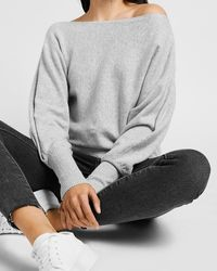 Express Cosy Off The Shoulder Jumper Silver Heather Grey