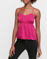 Express Satin Lace-up Back Babydoll Cami Pink