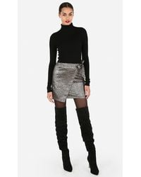 Express Metallic Animal Print Jacquard Wrap Mini Skirt Multi - Black