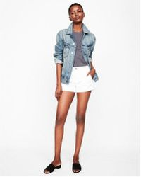 Express - Mid Rise Relaxed Twill Trouser Shorts - Lyst