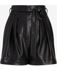 Express Super High Waisted Belted Faux Leather Shorts Black 00