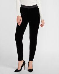 Express High Waisted Velvet Skinny Tuxedo Pants Black 2