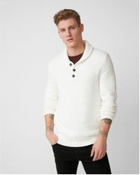 Express - Shawl Neck Henley Sweater - Lyst
