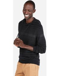 Express Textured Stripe Hooded Popover Sweater Black