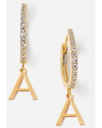 Express Tess + Tricia Gold Initial Huggie Earrings Gold J - Metallic