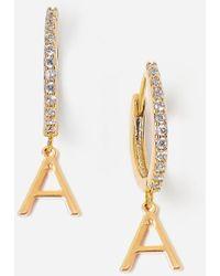 Express Tess + Tricia Gold Initial Huggie Earrings Gold J - Metallic