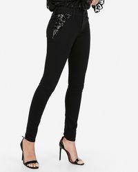 Express Mid Rise Black Sequin Pocket Jeggings,