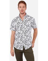 Express - Slim Geometric Print Short Sleeve Shirt White - Lyst