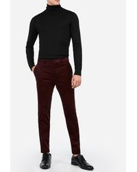 Express Extra Slim Burgundy Corduroy Suit Pants Red