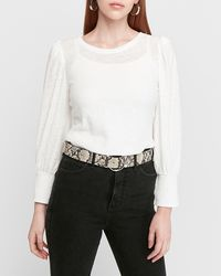 Express Puff Shoulder Long Sleeve Tee White