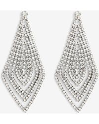 Express Rhinestone Multi-row Diamond Drop Earrings Grey