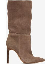 Express Genuine Suede Slouch Booties Grey