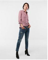Express - Original Striped Long Sleeve Essential Shirt - Lyst
