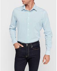 Express Slim Wave Print Luxe Comfort Knit Dress Shirt - White
