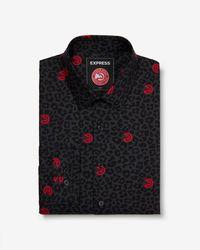 Express - Slim Atlanta Hawks Nba Printed Stretch Dress Shirt Black - Lyst
