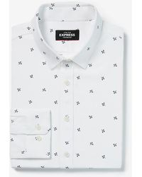 Express Extra Slim Floral Wrinkle-resistant Performance Dress Shirt White Xs