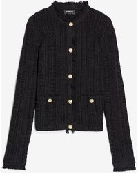 Express Button-up Fringe Sweater Jacket Black S