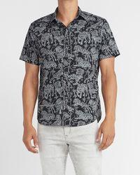 Express Slim Exotic Tiger Print Soft Wash Shirt - Black